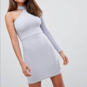 NWT A/X one shoulder choker midi dress